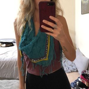 Turquoise summer scarf or head wrap